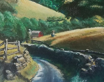 """A Country Road - Oil On Canvas, 16"""" X 20""""."""