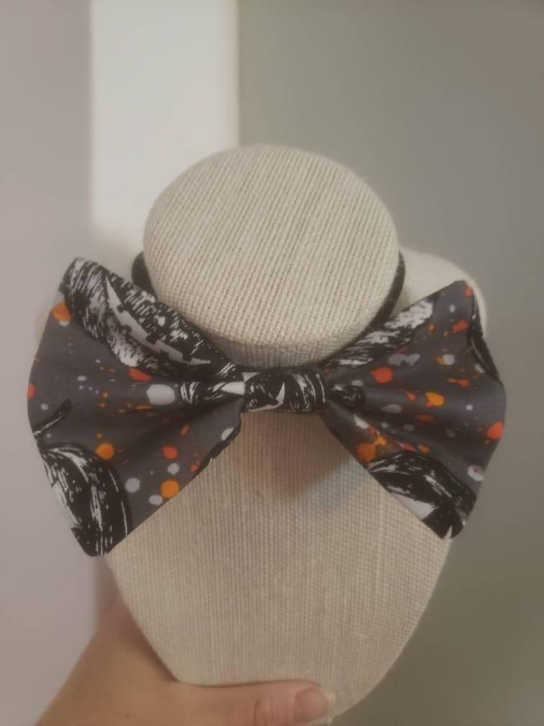 Halloween Wedding Fun Bow Tie Spooky Grey Pumpkin Adjustable Bowtie
