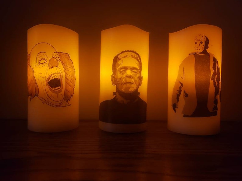 Halloween Horror Theme LED Candle Pennywise Frankenstein Jason Battery Light Decor