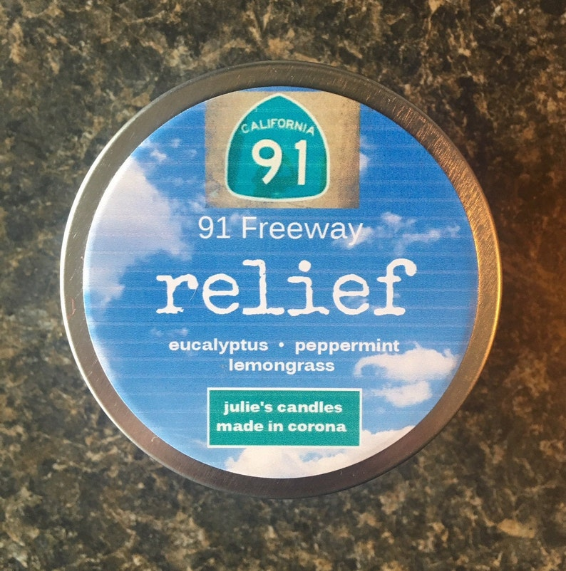 My 91 FREEWAY RELIEF candle is an all natural blend of eucalyptus,  peppermint and lemongrass  Julie's Candles Corona  Made in California