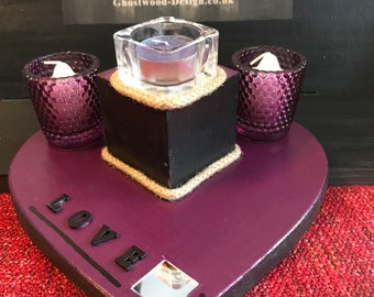 purple heart candle holder