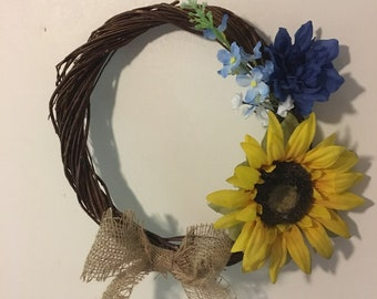 Sweet and simple sunflower wreath