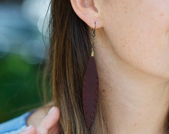 Petite Leather Feather Earrings