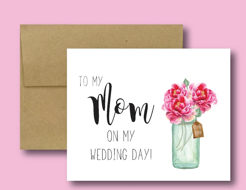 Folded With Envelope Personalized To My Mom On My Wedding Day Handmade Greeting Cards-Note Cards-Gifts For Mom-Bridal Party-Blank Inside