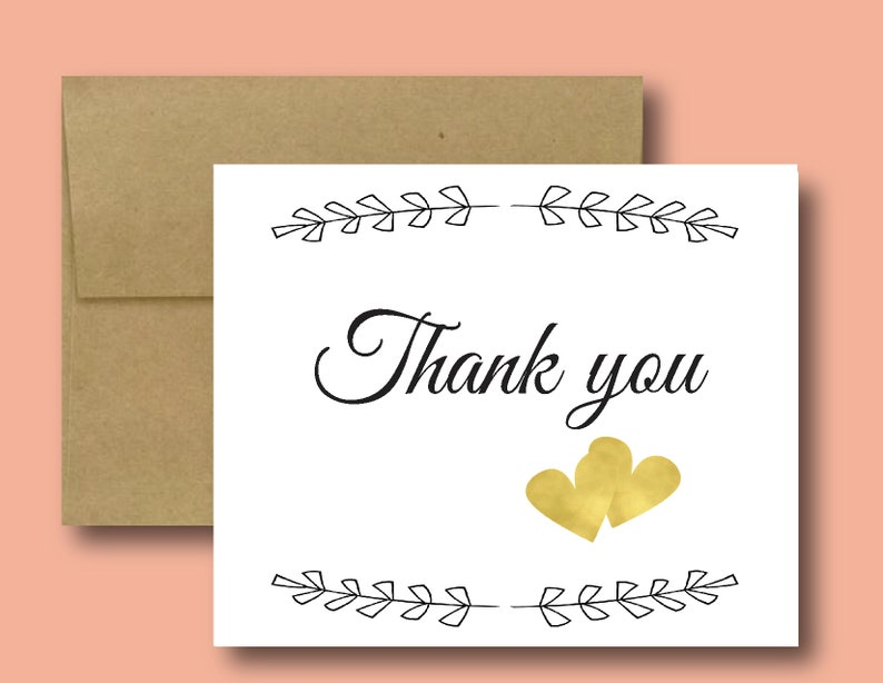 Hand Made. Thank You Cards Wedding Party Gifts Handmade Thank You Card Greeting Card With Gold Hearts Blank Inside Cute Wedding Cards