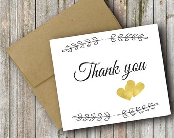 Thank You Card With Hearts. Wedding Party, Blank Inside, Thank You Cards. Cute Wedding Cards! Hand Made. Wedding. Greeting Cards.