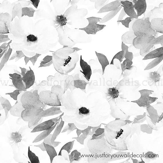 Floral Wallpaper Flower Wallpaper Removable Wallpaper Black And White Wallpaper Flower Wall Nursery Wallpaper Peel And Stick 25 4003b