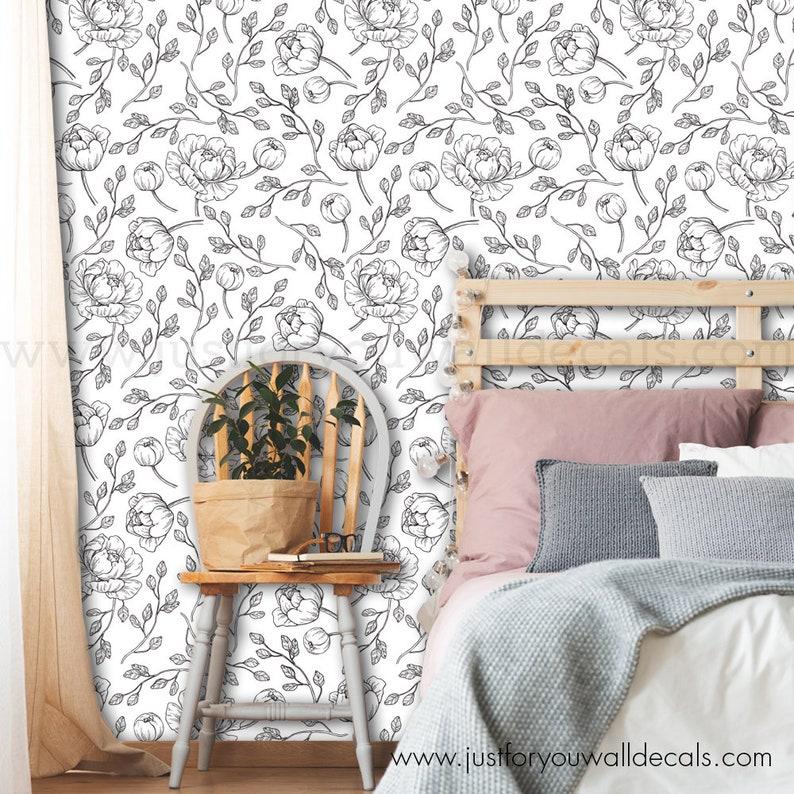 Baby Girl Wallpaper Wallpaper 30-0009 Girl Wallpaper Black Floral Wallpaper Floral Wallpaper Black and White Wallpaper Peony Wallpaper