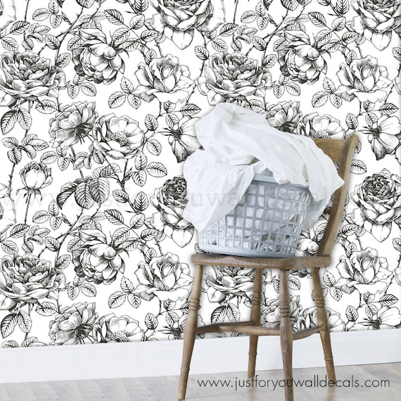Floral Wallpaper Rose Wallpaper Removable Wallpaper Black Etsy
