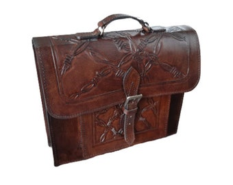 Hand Tooled Leather BriefcaseBackpack Colonial Antique Brown