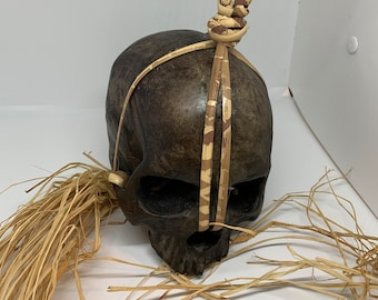 "Borneo Headhunter Trophy Skull replica with carrying handle and ""tail"""