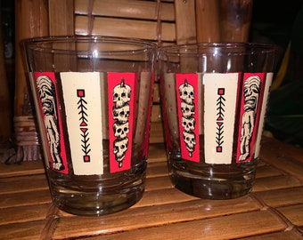 Quantity 2 of KenTiki Mai Tai glasses in red and tan