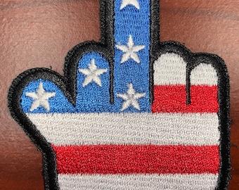 """Flag Finger full color middle finger morale patch 2.75""""H x 2.25""""W"""