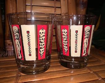 Quantity 2 of KenTiki Mai Tai glasses in red and tan