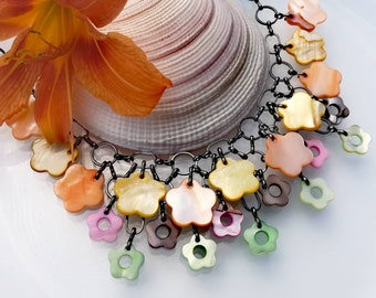 Summer colourful necklace 20' Seashell flower beads jewelry lovely necklace  Bright simple jewelry Pressed shell beads pink green yellow