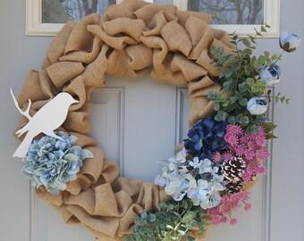 Flower Burlap Wreath with Bird