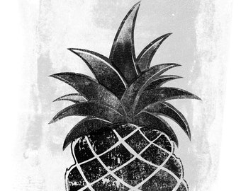 Pineapple Giclee Print B&W on Archival Paper