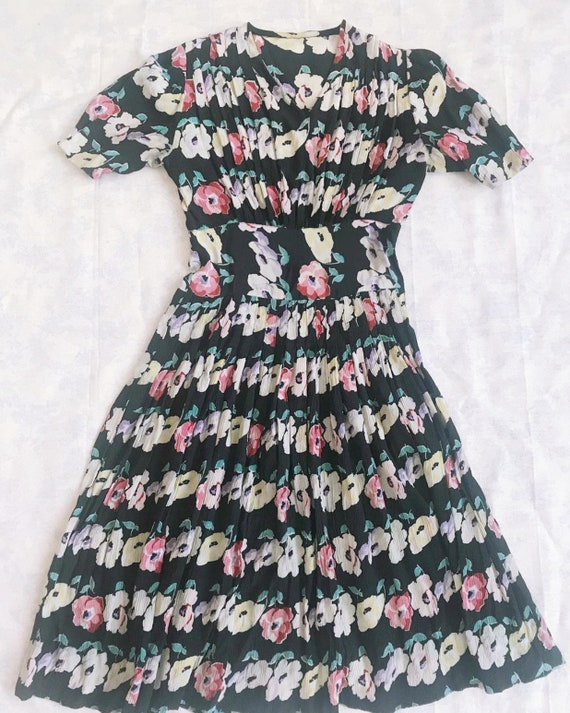 vintage 1930s silk rayon floral dress