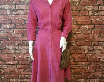 Pink Vintage Faux Suede 1970s Dress, Size 14, great for Wedding Outfit!