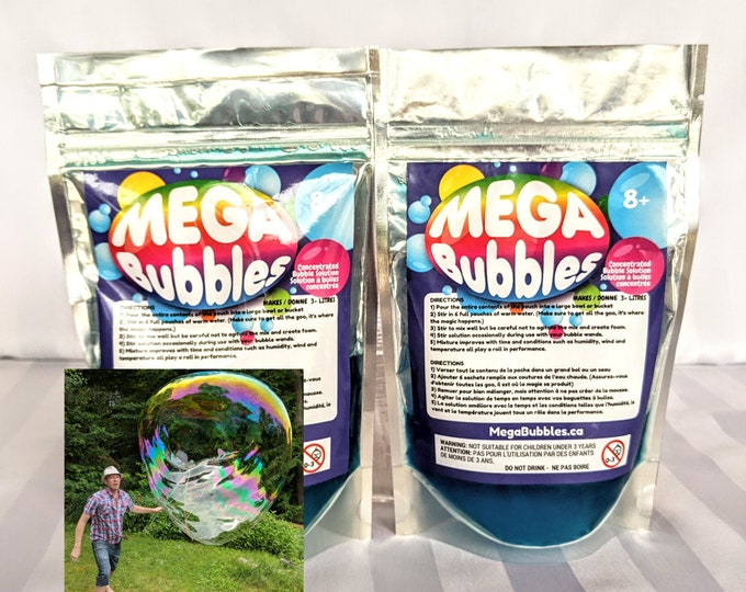 2 pouches of concentrated Mega Bubbles solution - makes 6+ litres - Free delivery in Canada