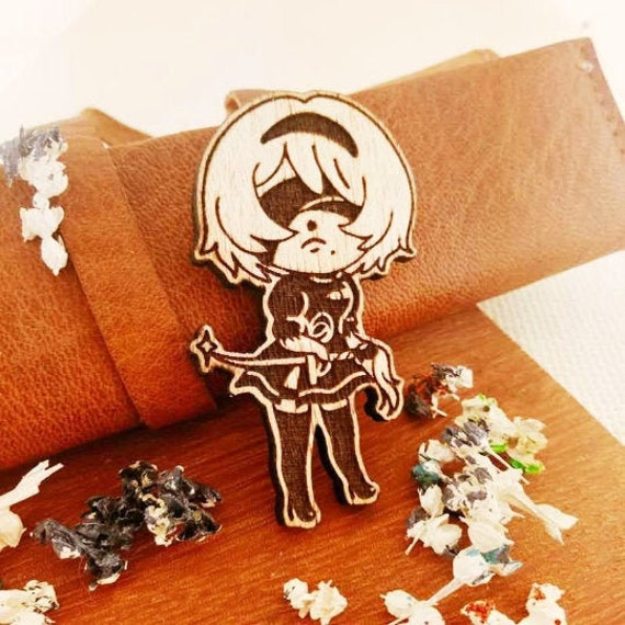 Laser cut Jewelry Handmade Pin Wood Accesories Wood Brooch Wood Pin Mob Psycho 100 Wood Pin ~ Mob Wood Pin ~ Laser Etched Wood Pin