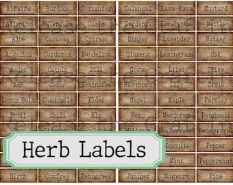 Herb Labels- Printable Journal Embellishment - Book of Shadows- Grimoire - Herbalism - Scrapbooking- Instant Download - Digital Download