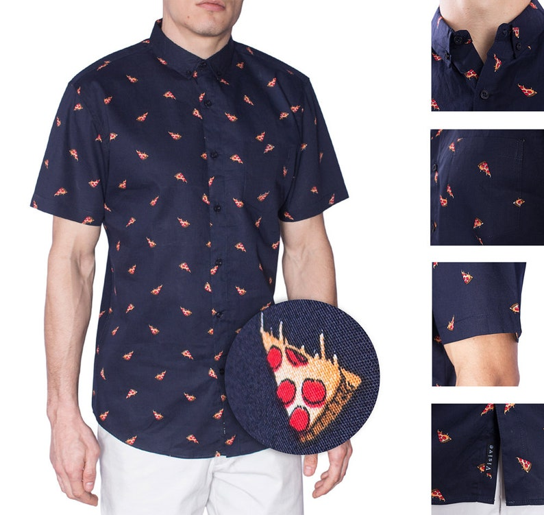 7ba1f23453a5 Visive Pizza Print for Mens Short Sleeve Hawaiian Button Down | Etsy