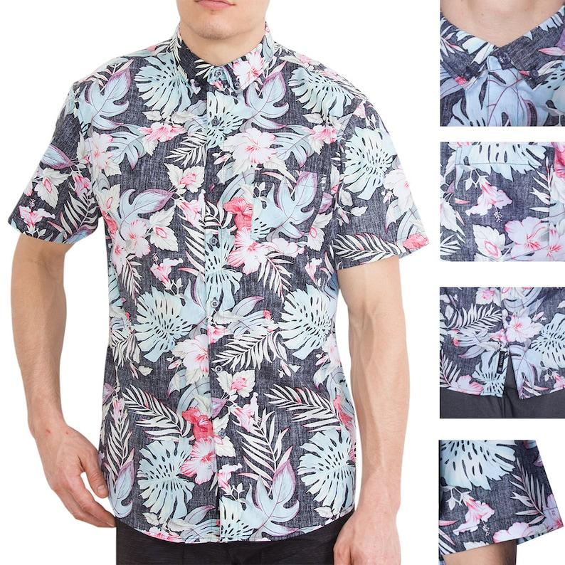 046a60f74789 Visive Grey Hawaiian Print for Mens Short Sleeve Hawaiian | Etsy