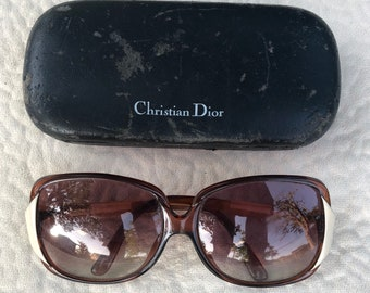 61d4ba173bee CHRISTIAN DIOR vintage brown tortoise   white trim sunglasses 1970 s 1980 s  authentic