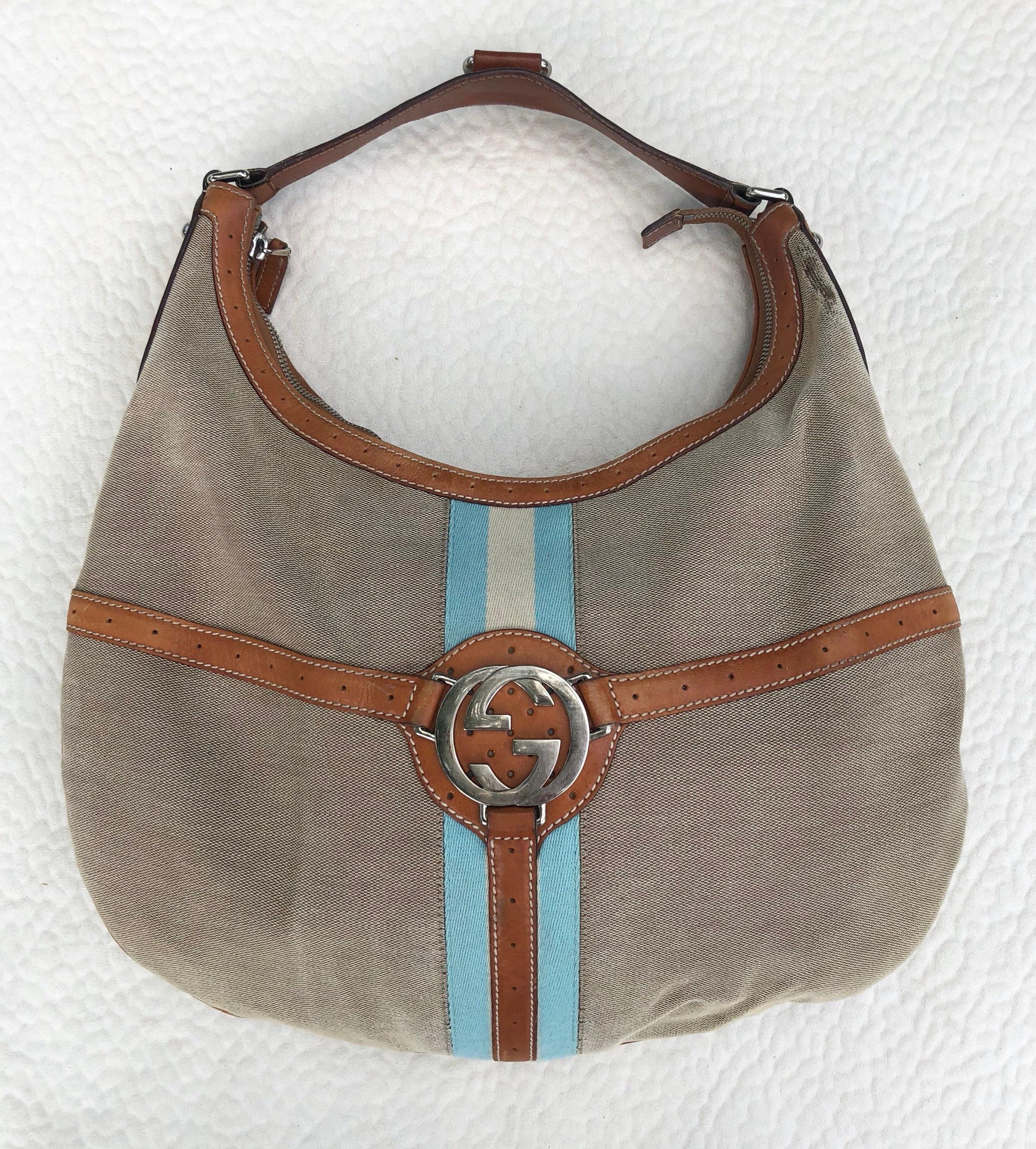Vintage GUCCI tan canvas Jackie O Blondie hobo shoulder bag  682b5ed651e3f