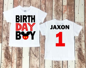 Mickey Mouse Birthday Shirt Baby Boy Clothes 1st Disney Family Shirts Custom