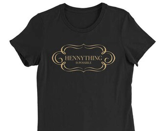 Hennything Is Possible Women's Relaxed Fit Soft Black Cotton Shirt