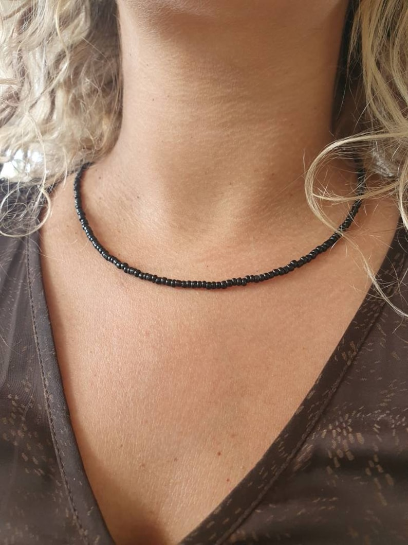 Beaded Glass Necklace Simple Everyday Necklace Glass Beads Pendant Necklace For Mom Black Beaded Choker Necklace Black Women Choker
