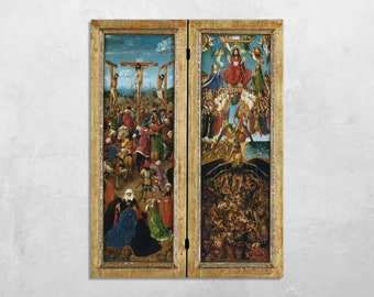 Canvas and Poster Print Wall Art - Stretched or Rolled - Made in Italy - THE CRUCIFIXION, the last JUDGMENT, by Jan van Eyck