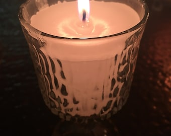 Glass potted candle