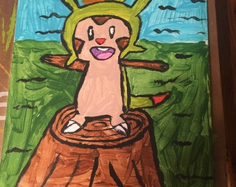 Chespin On A Tree Stump