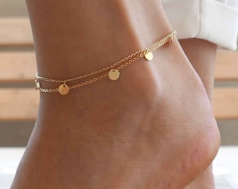 5d878ff8818 Gold Anklet - Gold Ankle Bracelet - Coin Anklet - Foot Jewelry - Foot  Bracelet - Chain Anklet - Summer Jewelry - Beach Jewelry - Bridal