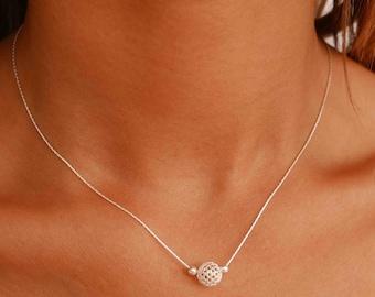 Silver Bead Necklace - Silver Boho Necklace - Dainty Silver Necklace - Minimal Silver Necklace - Thin SIlver Necklace - Delicate Necklace