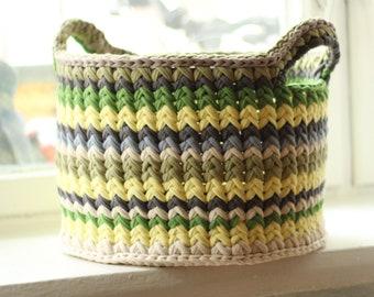 basket for storing things colored knitted basket big basket handmade
