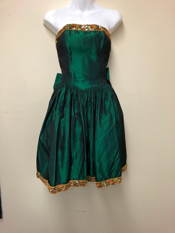 Green taffeta holiday sequin party dress by Jessic