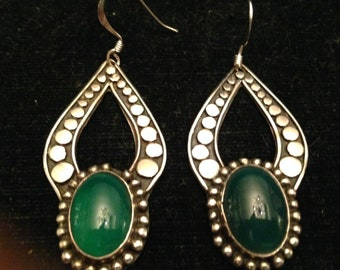 Green Chrysoprase And Sterling Drop Earrings
