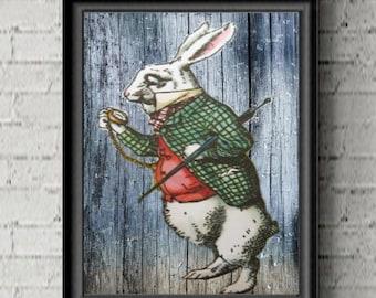 Alice in Wonderland White Rabbit Wall Art Home Decor Print