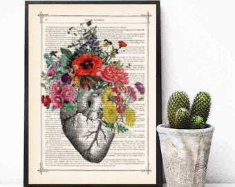 Sale  Anatomical Heart and Flowers- Human Anatomical Heart and Flowers Print- Science Gift-Anatomy Print Dictionary Print