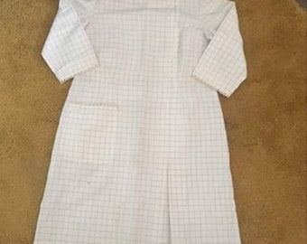 White and blue check 60's dress size 16