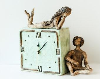 "Cermaic Table clock ""Сonversation"""