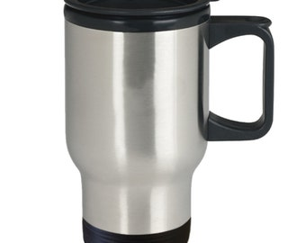 Caffeine is little brain cells you drink travel mug - 14oz stainless steel with handle