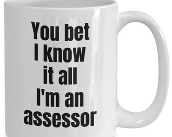 Assessor coffee mug - you bet i know it all i'm an assessor - gifts for assessors - ceramic, white