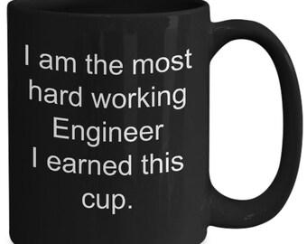 Mugs for engineers - i am the most hard working engineer - chief engineer mug, black, 11/15oz