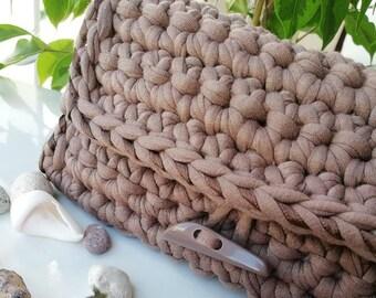 Purse of Knitted Yarn, Crochet Purse, Handmade Purse, T-shirt Yarn Purse, Purse