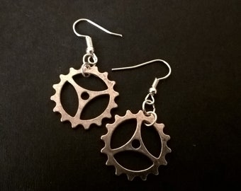 Antique Silver Cog Charm Earrings - Handmade